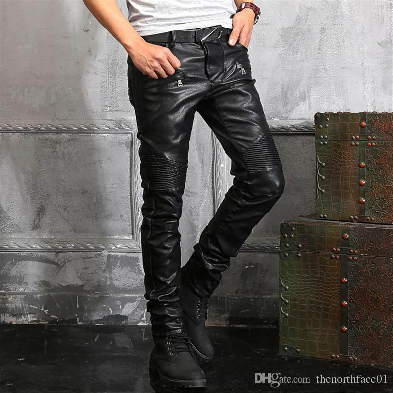 Balmain Wholesale Mens Casual Chaparajos Boys Faux Leather Skinny Pencil Pants Trousers Hot Jeans