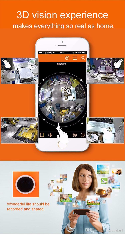 Fisheye HD 960P Panoramic VR IP WIFI 360 Degree 1.3MP Fish Eye Lens 3D Network CCTV Security Camera