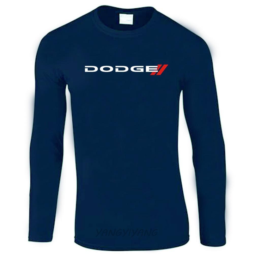 Dodge новый логотип человек футболка с длинным рукавом тройники автомобилей марка хип-хоп с длинным рукавом футболка мужчины бренд Clothing хлопок футболка