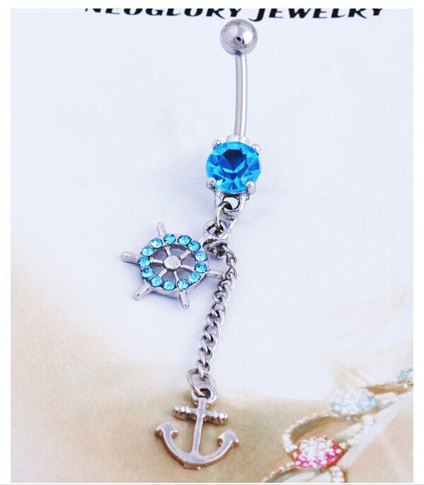 Acier chirurgical corps Piercing bijoux Anchor nombril percing nombril Bar Anneau Pircing cristal gland du ventre Piercing bijoux 1 P
