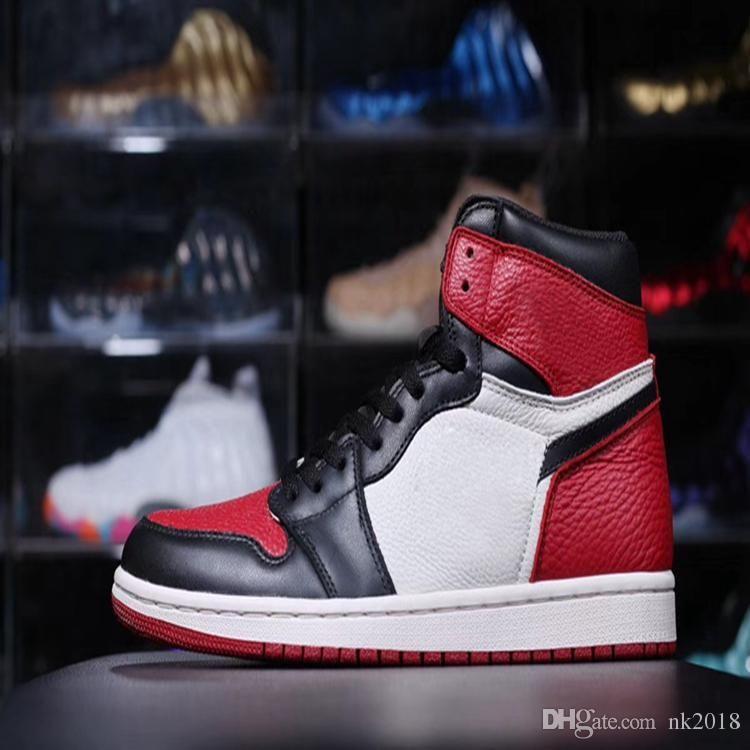 lowest price b950c 9f94b Acheter Nike Air Jordan 1 Aj 1 2018 Haute Qualité Chaussures De Basket De Style  Classique e Baskets Og Chicago 1 Noir Rouge Blanc Garçon Baskets Bleu Blanc  ...