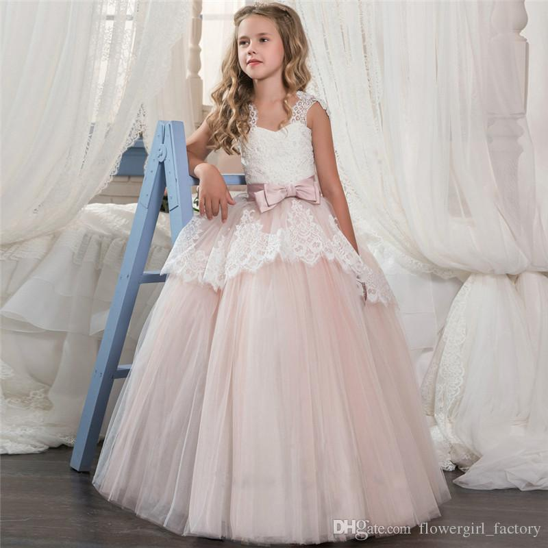 e182efc035 2018 Beautiful Satin And New Arrival Flower Girls Dresses Beaded Lace  Appliqued Bows Pageant Gowns For Kids Wedding Party FD018 Girl Flower Girl  Dress Girls ...