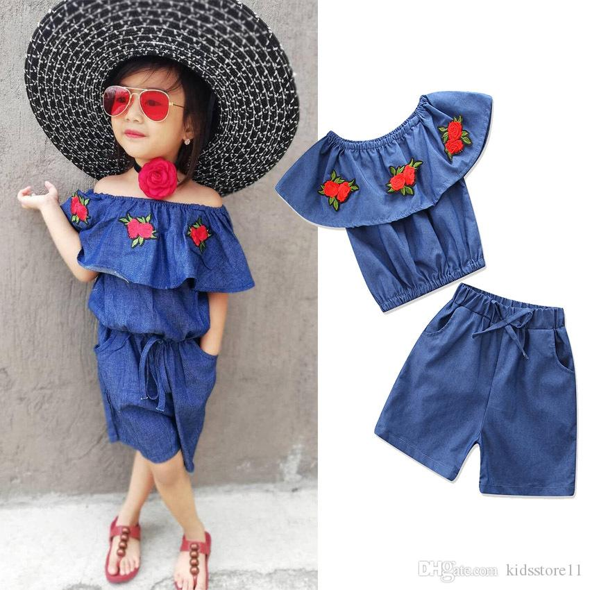 9f794c934e2 2019 2018 Summer Baby Girls Denim Sets Fashion Rose Embroidery Off Shoulder  Top+Shorts Outfits Kids Clothing Children Clothes From Kidsstore11