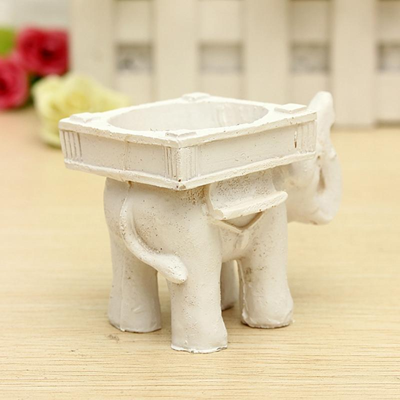 KiWarm Quality Resin Ivory Lucky Elephant Tea Light Candle Holder Candlestick Birthday Wedding Party Home Decoration Craft Gift