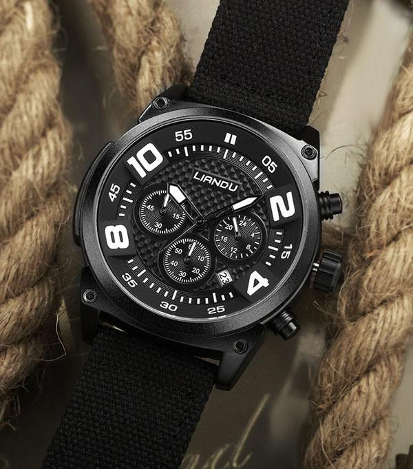 new black case Waterproof nylon fabric canvas strap Casual cheap chronograph Sports Watch for men free post gift package
