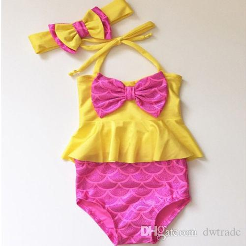 Girls Bikini Yellow Hanging neck Big Bow Tie Tops+ Pink Mermaid Briefs Swimsuit Baby Beach Swimsuit Dress for 0-4T Girls Girls Clothing