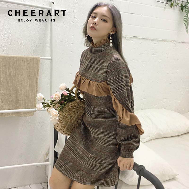 ebcb3962f8f4 2019 Cheerart Plaid Ruffle Vintage Tweed Dress Women Turtleneck Long Sleeve  Wool Winter Autumn Korean Dress Robe Femme From Xx2015, $37.93 | DHgate.Com