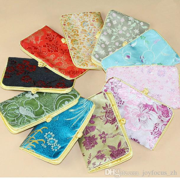 14x9cm Silk Fabric Gift Packaging Bags Jewellery Storage Pouches vintage floral Chinese knot Silk Coin Purse mixed color