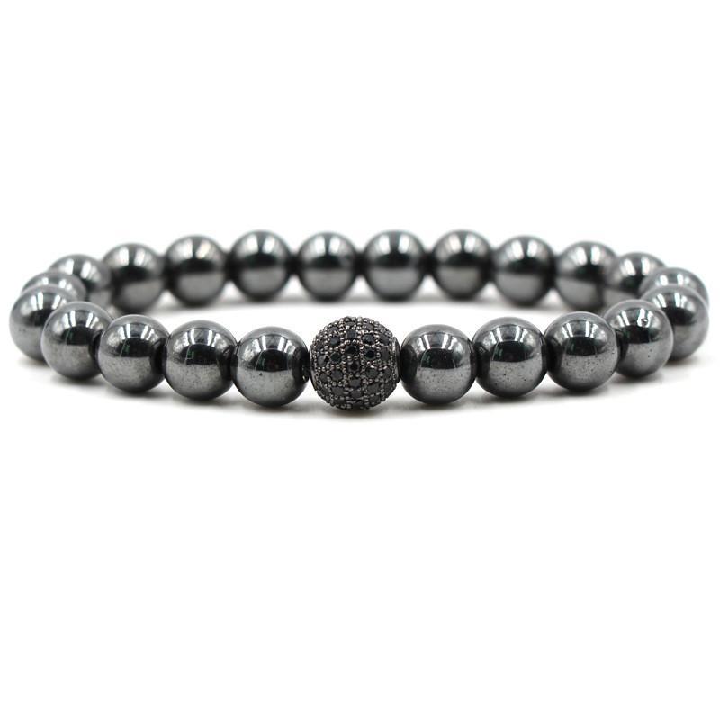 الحجر الأسود الهيماتيت أساور 8 ملليمتر الحجر الطبيعي زركون جولة الكرة أساور أساور للنساء الرجال أساور هدية