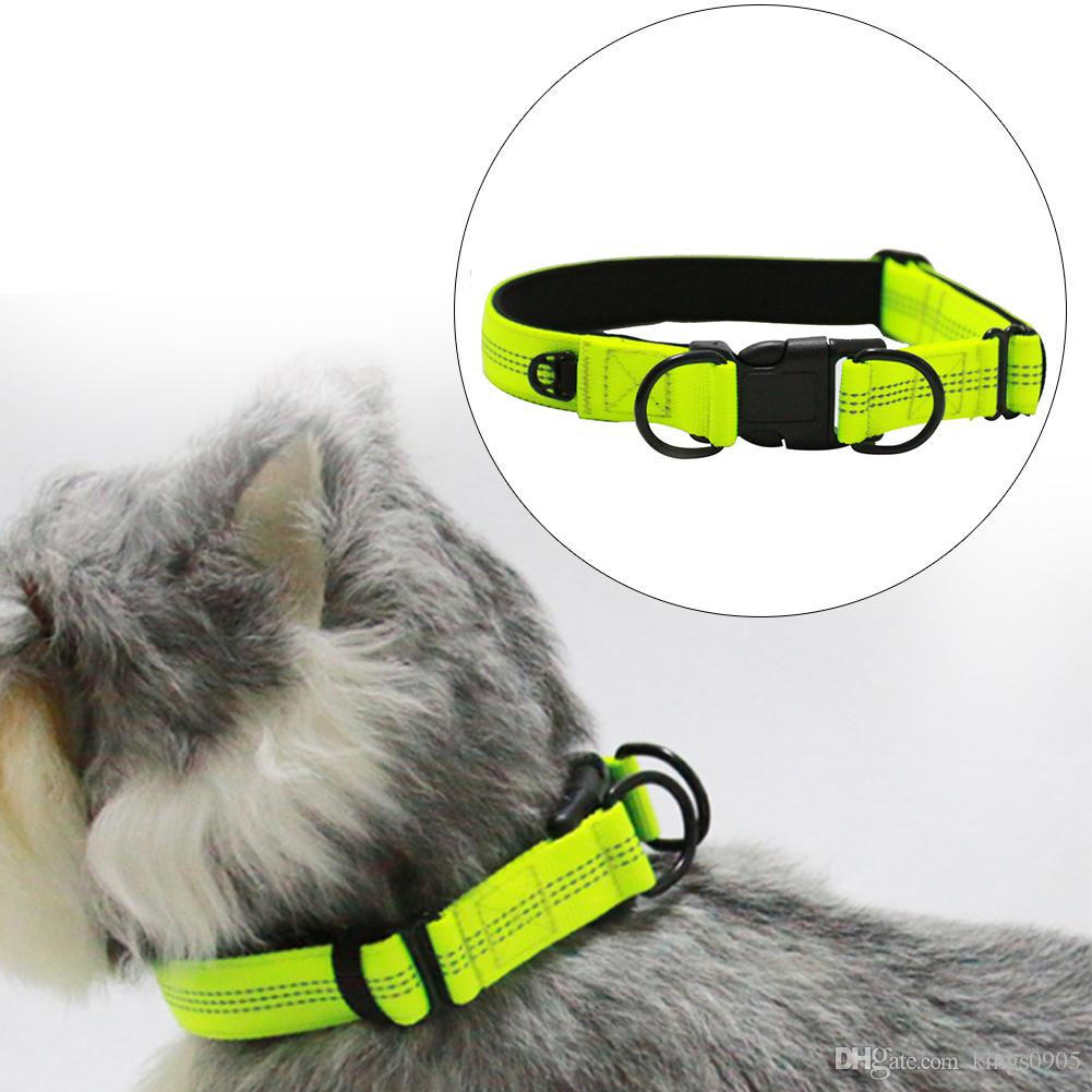 new hot Double D Buckle Nylon Reflective Pet Dog Collar for Medium Big Dogs 2017 New Night Safety Dog Collars Supplies Collar for Dogs