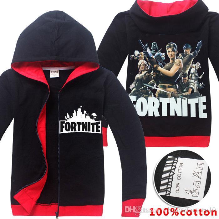 c86a75fbad4e Fortnite Hoodies Kids Cartoon Cotton Zipper Sweatshirts Children ...