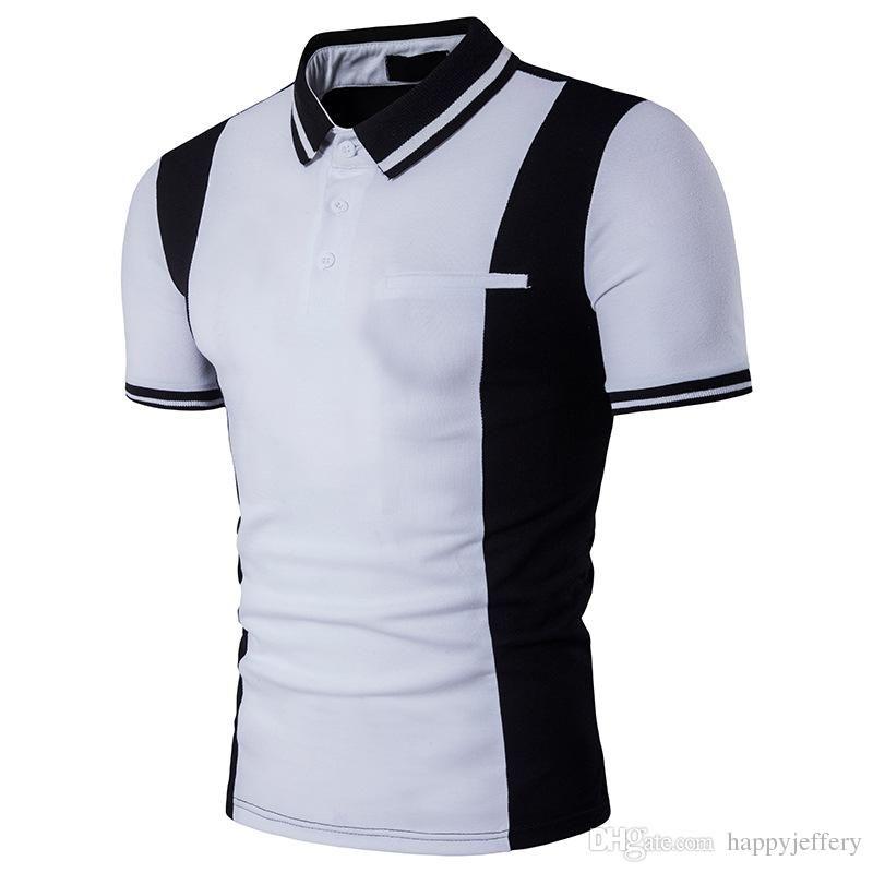 Camiseta polo B90 de manga corta en color blanco y negro combinada New Polo Men para hombre