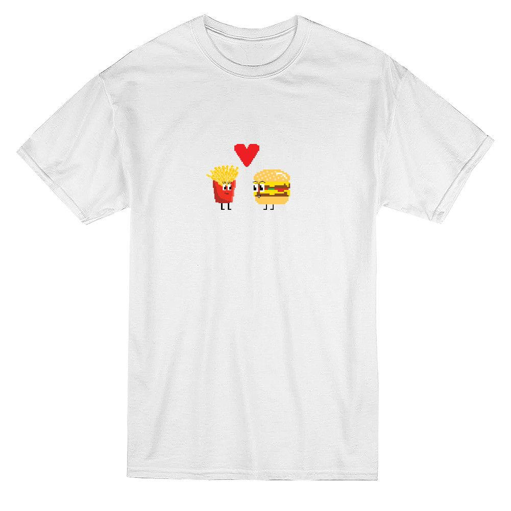 e7e852e0e8 Kawaii Cute Pixel Burger Fries Love Couple Graphic Men's T-shirt Mens 2018  fashion Brand T Shirt O-Neck 100%cotton T-Shirt Tops Tee custom
