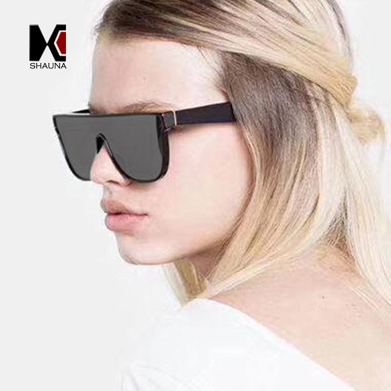 ef378efab6cd9 SHAUNA Classic Oversized Shades Women Goggle Sunglasses Fashion Men Mirror  Reflective Shades Square Driving Glasses UV400 Black Sunglasses Cycling ...