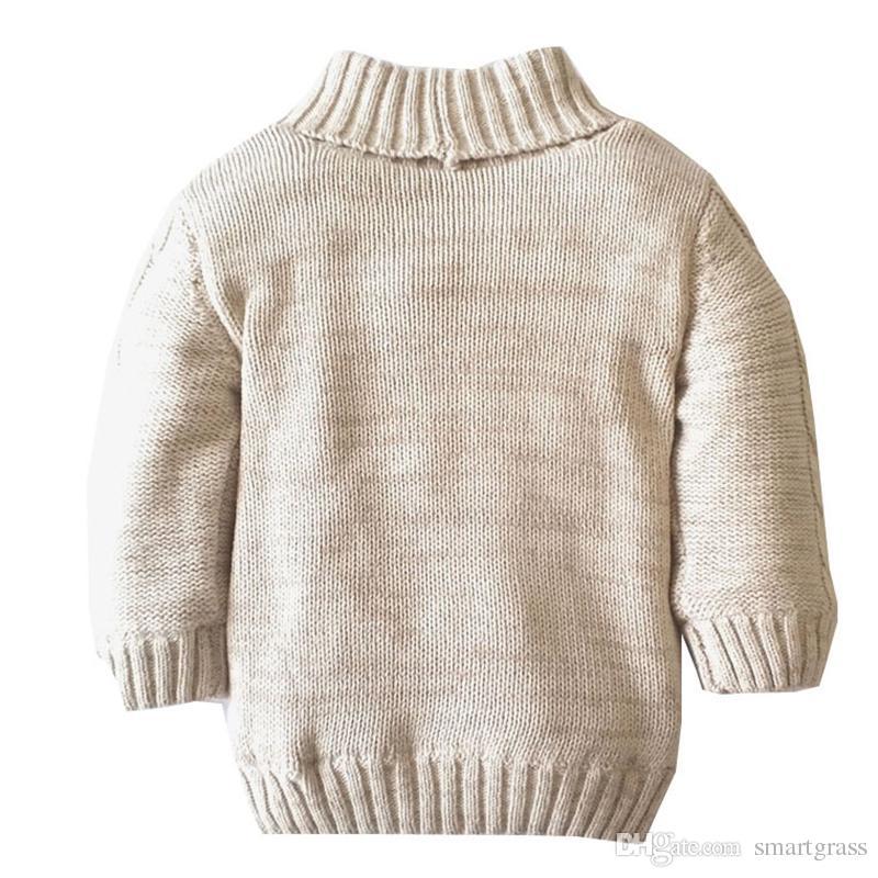 Online Alışveriş Çocuklar Palto Uzun Kollu Polar Astar Sıcak Bebek Giyim Casual Pamuk Bebek Örme Hırka Kazak 18051803