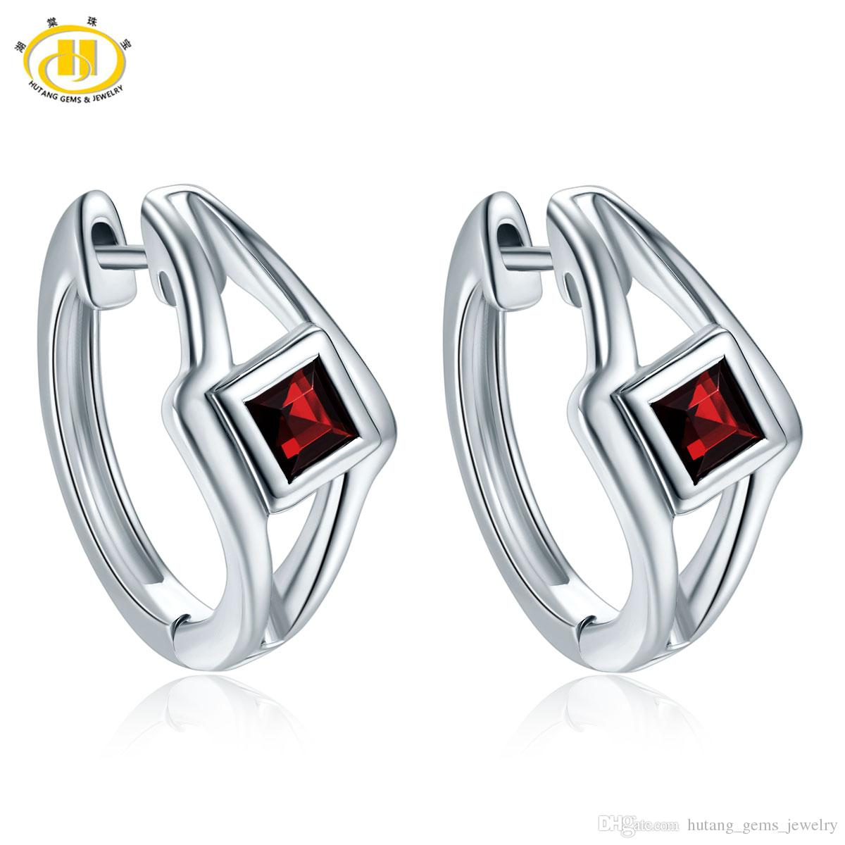 Hutang Stone Jewelry Earrings Natural Gemstone Black Garnet Solid 925 Sterling Silver Fine Fashion Jewelry For Women's Gift NEW