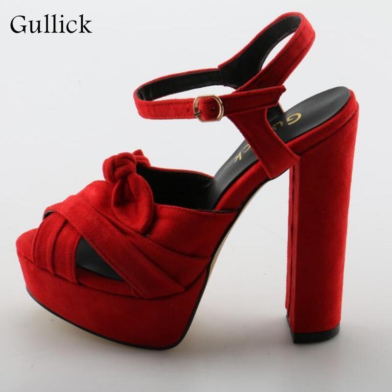 b06ed6ec327 Stylish Red Butterfly-knot Flock Woman High Heel Sandals Waterproof  platform Open Toe Buckle Strap Concise Summer Dress Shoes