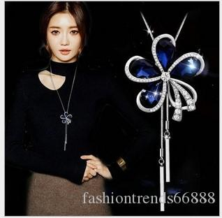 Bohemian Blue Crystal Swan Long Sweater Tassel Statement Necklace Square Gemstone Beads and Rhinestone Beads necklace Women pendant necklace