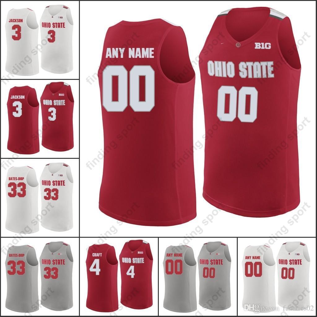 Custom Ohio State Buckeyes College Basketball Red White Gray ... c22e484a4