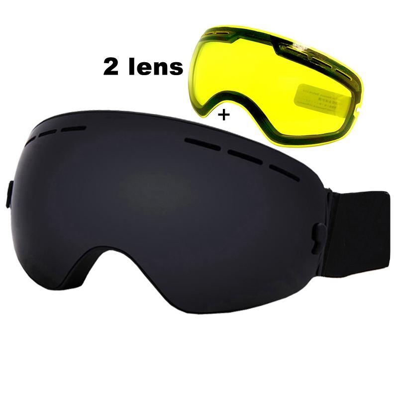 b56ff4a27d4 2019 Anti Fog Ski Goggles UV400 Ski Glasses Double Lens Skiing Snowboard Snow  Goggles Ski Eyewear With One Brightening Lens From Huiqi02