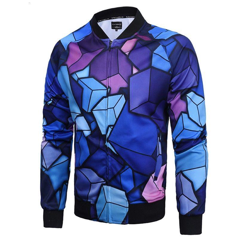 Wholesale Men Casual Style Cloudstyle Oil Painting 3D Digital Printing Outwear Baseball Jacket Coat