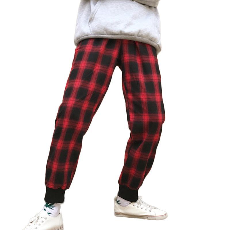 Compre Pantalones De Harén Hip Hop Negro Rojo Cuadros De Los Hombres  Ocasionales Vintage Pantalones De Chándal Joggers Streetwear Pantalones  Largos De ... 1a182c1a686