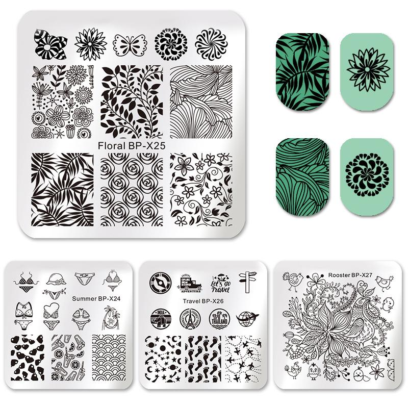 4513065cbd BORN PRETTY Square Nail Art Stamp Template Floral Summer Bikini Travel  Airplane Leaf Star Butterfly Image Nail Stamping Plates
