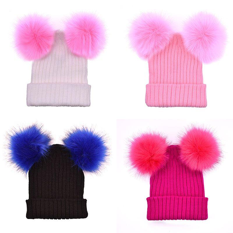 2019 Women Big Children Pom Pom Winter Knit Beanie Hats Faux Fur Pompom  Ball Crochet Caps C5480 From Hltrading b353b65fd3ed