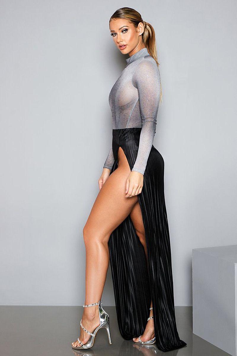 Sexy Perspective Skirt + Long Sleeve Shirt Women Nightclub Set Ladies Shiny Silver High Split Long Skirt Dress Set