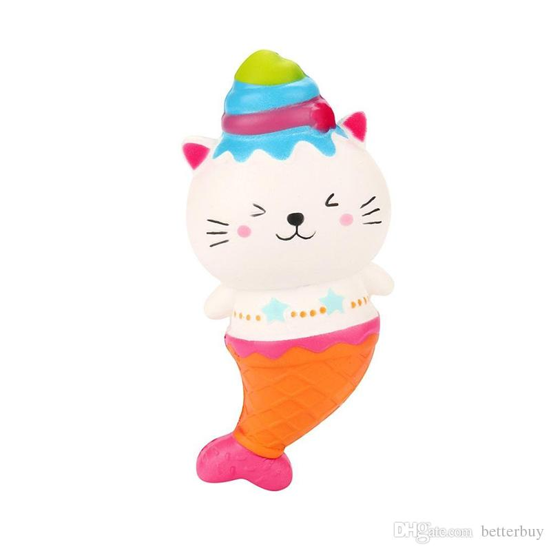 Discount Price 15cm Cute Jumbo Cat Kitty Mermaid Ice Cream Squishy Slow Rising Soft Squeeze Strap Scented Cake Bread Kid Toy Fun Gift