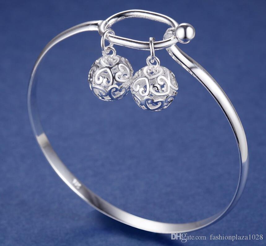 925 silver New Product Charm Handmade Folk Custom Two Balls Open Adjustable Bangles Antique 925 Silver Bracelets Bangles