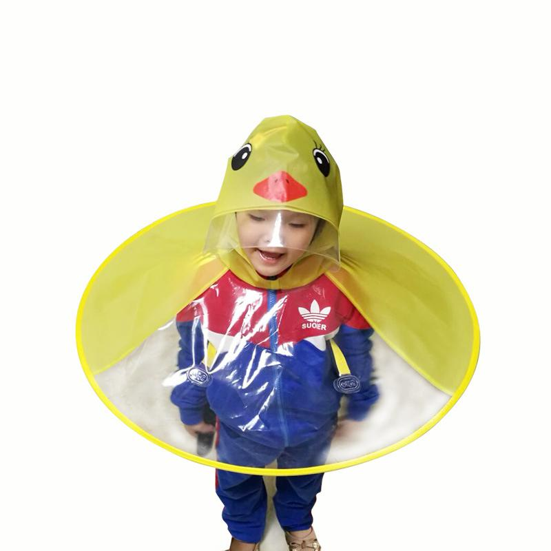 Yellow Duck Kids Raincoat UFO Cap Umbrella Automatic Folding Umbrella  Children Hat Creative Raincoat Gift Student Woman Rain Hat Black And White  Theme Party ... 25dcde383296
