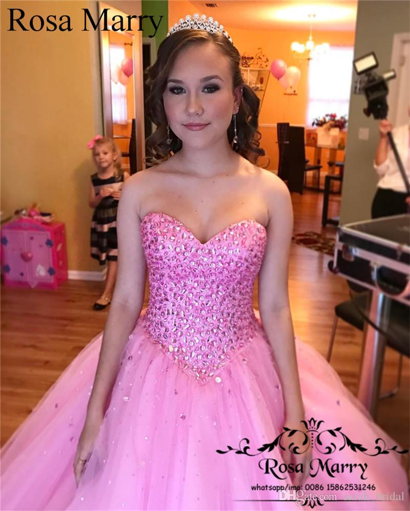 Sparkly Pink Crystals Sweet 16 Quinceanera Dresses 2018 Ball Gown Corset  Lace Up Back Plus Size Vestidos 15 Anos Masquerade Prom Party Gown Mermaid  ... c3aca344f27e