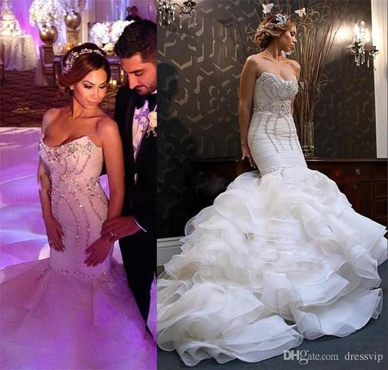 9be19c1d782d0f 2018 Mermaid Wedding Dresses Bling Crystal Sequins Ruffle Tiered Sexy  Country Wedding Gowns Slim Dubai Arabic Plus Size Bridal Dress Wedding Dress  Designers ...