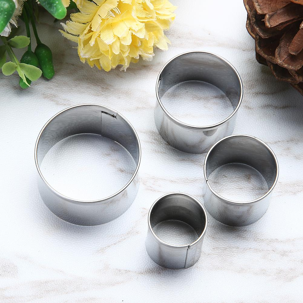 4Pcs/set Cake Mold Stainless Steel Kitchen Bakeware Cookie Cutter Biscuit Round Shaped High Quality Cake Mold Pastry Tools