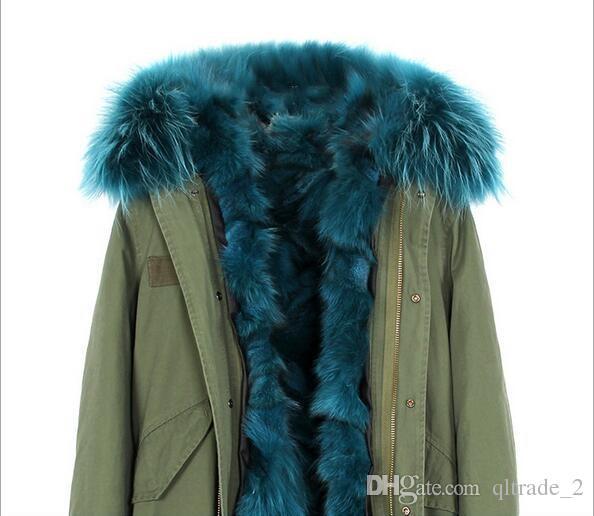 short style women snow coats outdoor jackets Jazzevar green fur trim multicolour fox fur liner army green canvas mini parka with ykk zipper