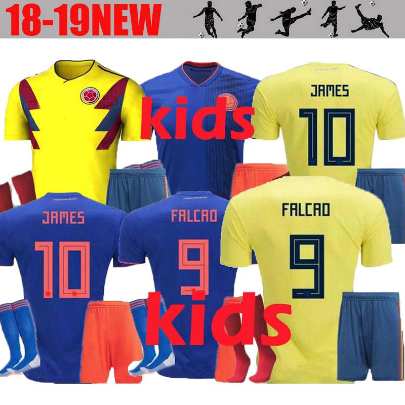 0c6e74a92 JAMES 2018 World Cup Colombia Soccer Jersey Kids Kit 2018 Colombia Home  Yellow Soccer Jerseys Child Soccer Shirts Uniform Jersey Shorts SOCK UK  2019 From ...