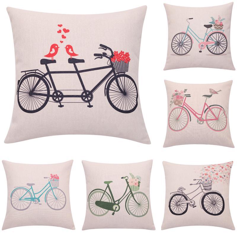 Compre Comercio Al Por Mayor Primavera Bicicleta Throw Pillow Love ...