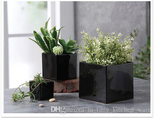 succulents pots Decorative fashion Simple white black flower pots planters succulent plant potted on the desk home decoration Three sizes