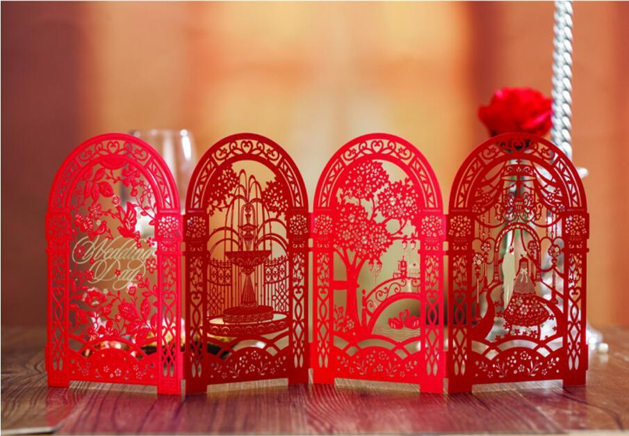 3d Castle Chinese Wedding Invitation Cards Luxury Laser Cut