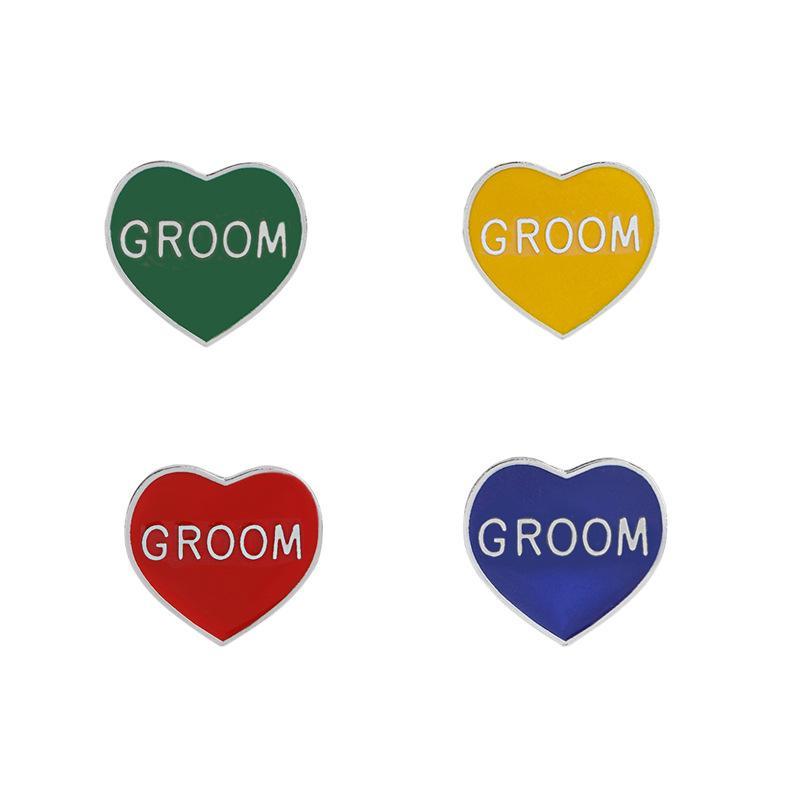 Compre 2018 Nuevas Letras En Forma De Corazón Letras Brooch Groom