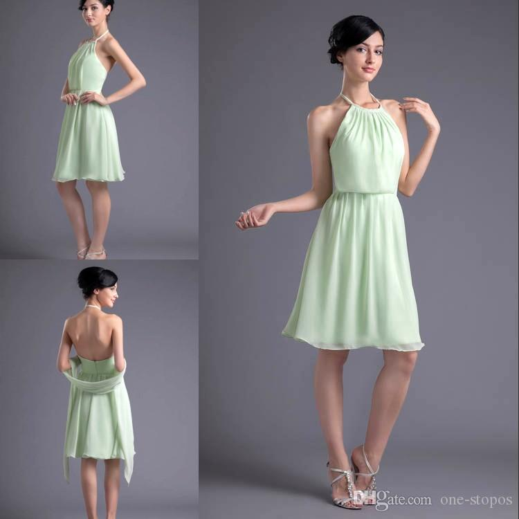 ae58138e70ba0 Simple Cheap Sage Short Sexy Bridesmaid Dresses Halter Neck Chiffon Formal  Maid Of Honor Dresses Wedding Guest Gowns ZPT024 Gowns Designs For Wedding  ...