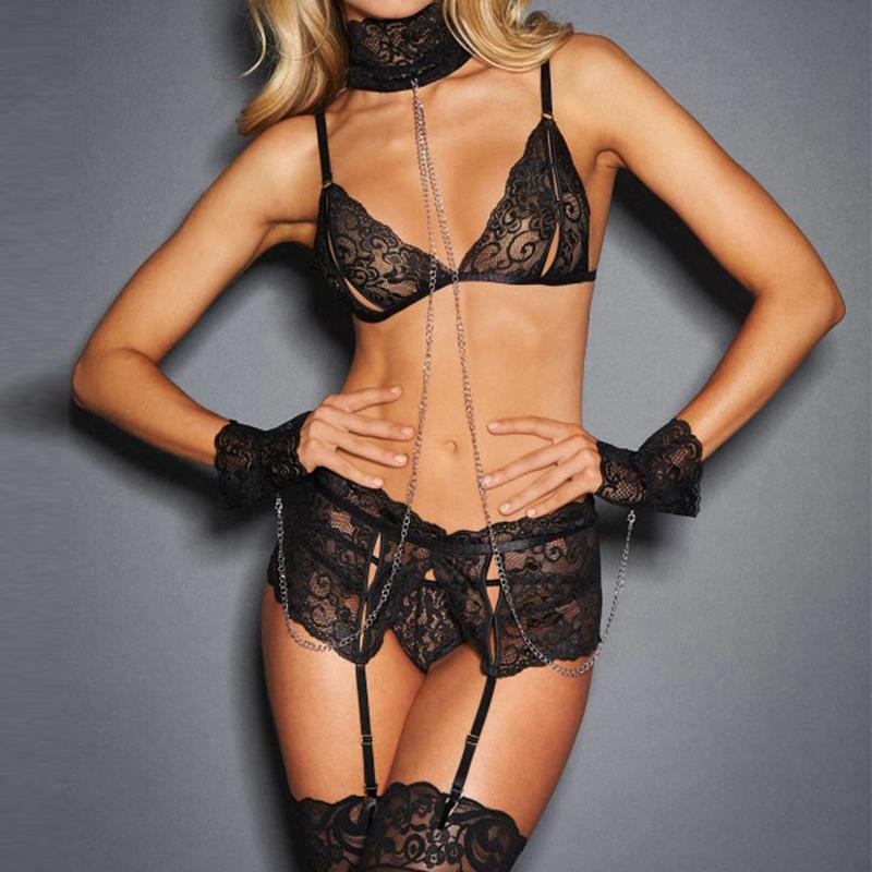 Fantazi Seks Hot Sexy Women Lingerie Sets Bra+Garterbelt+Panty+Handcuffs Transparent Lace Exotic Lingerie Porn Clothes R80638
