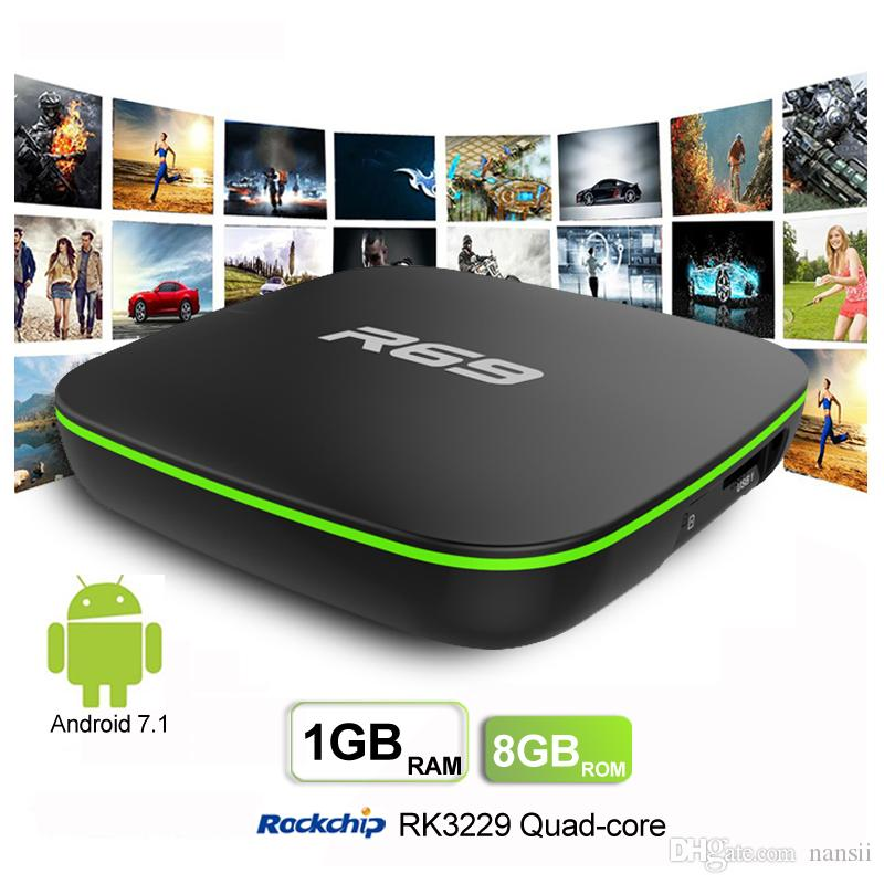 R69 Android 7 1 TV Box RK3229 1GB RAM 8GB ROM 2 4G 5G WiFi 100Mbps BT4 1  Support 4K H 265