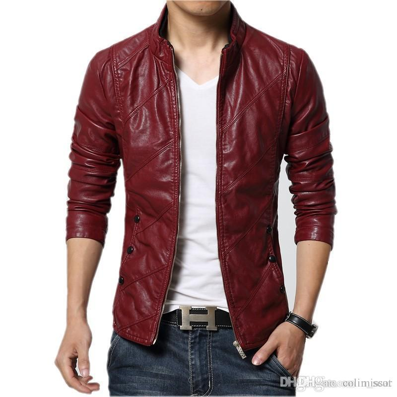 2019 New Fashion Pu Leather Jacket Men Black Red Brown Solid Mens