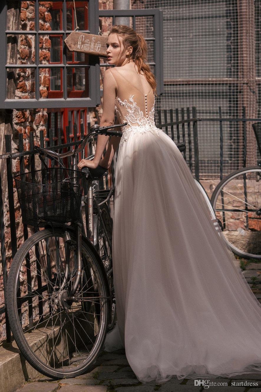 Amazing Sexy See Through Top Beach Garden Wedding Dresses V neck Sheer Straps Designer Lace Berta Bridal Covered Applique Boho Chiffon Gowns