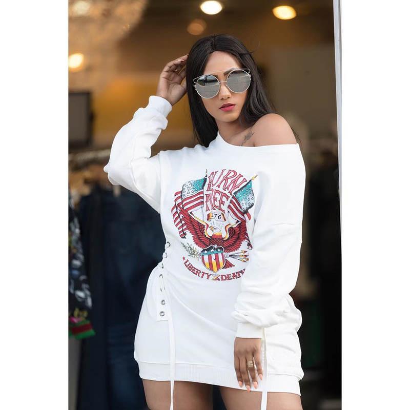2018 Yeni Bayan Elbise Amerikan Bağımsızlık Günü Seksi Elbise Bandaj bel dekorasyon Beyaz gündelik giysiler gevşek yazdır