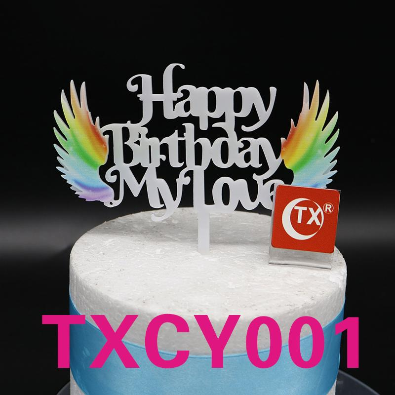 Ful Happy Birthday My Love Angel White Acrylic Cake Topper Baby