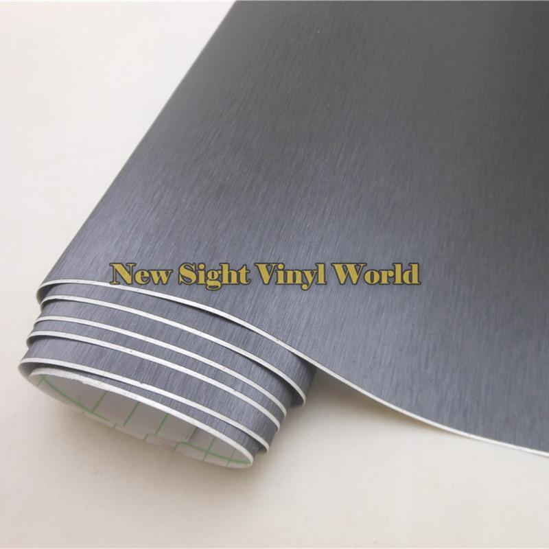Titane gris de haute qualité enroulé de vinyle de vinyle pour la taille libre de bulles d'air des autocollants de voiture: 1.52 * 30M / petit pain