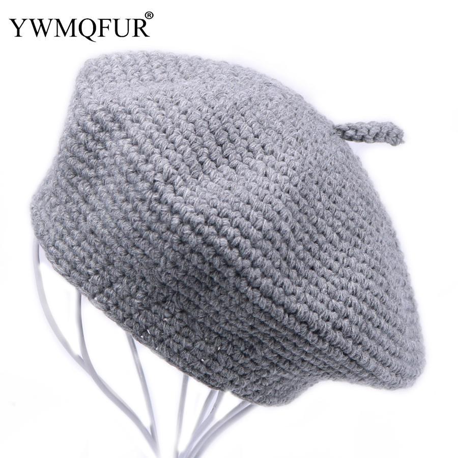 Compre YWMQFUR Invierno Vintage Lana Knit Mujeres Boinas Gorras Moda Sólido  Señora Skullies Sombreros Mujer Gruesa De Algodón Cálido Sombrero De Boina  Venta ... 95ded7a85d8